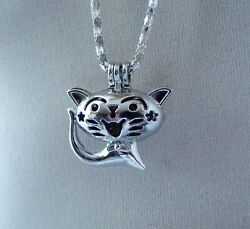 Cat Charm Bead Pearl Cage Kitten Pendant Bola Angel Caller for Necklace Silver