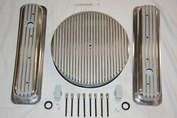 Raised Finned Small Block Chevy Center Bolt Valve Covers And Air Cleaner Filter