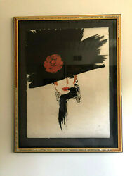 Rene Gruau... Signed And Numbered Lithograph 202/300 Woman In Rose Hat Peals