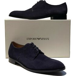 New Armani Navy Blue Suede Leather Dress Men's Fashion Oxford 12.5 45.5 Casual