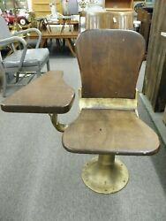 Vintage Antique Student Chair With Drop Down Arm Cast Iron And Wood Industrial