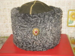 Soviet Papakha Natural Astrakhan Fur Coloneland039s Cap Officer- General Wwii 1940and039s