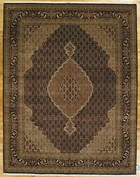 Black Rug 8x10 Classic Mahi Design Traditional Wool And Silk Hand-knotted Rug