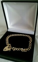 Antique 9ct Gold Curb Link Bracelet.padlock Clasp.by B H Britton And Sons. C1920and039s