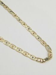 Real Solid 10k Tri Tone Gold Valentino Style Necklace Chain 4.5 Mm 26 Inch Men