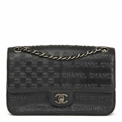 CHANEL BLACK EMBOSSED & QUILTED CALFSKIN LEATHER PARIS-DALLAS CLASSIC SINGLE...