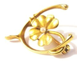 1898 14K Gold 4 Leaf Clover w Seed Pearl in Wishbone Pin Dated Vtg Brooch Lucky!