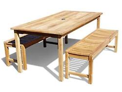 Windsorand039s Premium Grade A Teak 59x35 Rect Table /2- 48 Benches Seats 4 Adults