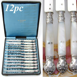 Antique French Sterling Silver And Mother Of Pearl 12pc 8 Dessert Knife Set Box