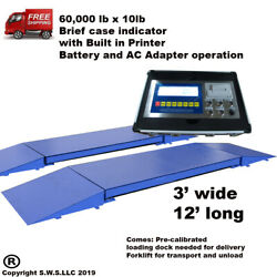 Portable Truck Axle Scale with Indicator 60,000 x 10 lb Heavy duty 12' L x 3' W