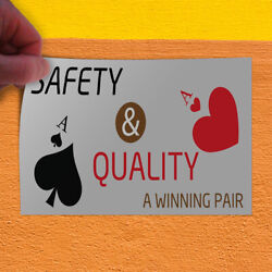 Decal Sticker Safety Quality A Winning Pair Business Safety Outdoor Store Sign