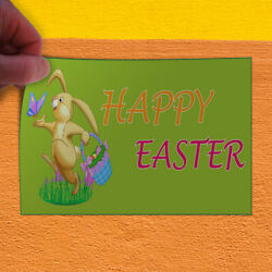 Decal Sticker Happy Easter Running Bunny Busket Happy Easter Outdoor Store Sign
