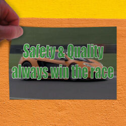 Decal Sticker Safety & Quality Always Win The Race shield Outdoor Store Sign