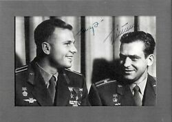 Double Signed Framed Photo 4 By 6 Inches. Andnbspyuri Gagarin And Gherman Titovandnbsp