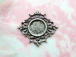 Antique Silver Filigree Cabochon 12mm Round Setting Stamping Finding Cb-3034
