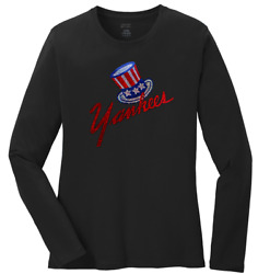 Ladies New York Yankees Crew Neck Long Sleeve T-shirt Womenand039s Tee Size S-4x