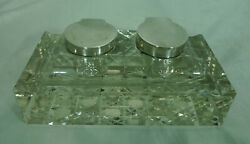 Victorian Silver And Glass Inkwell Sanders And Aquilar Birmingham 1900 A697217