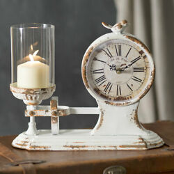 Cafe Due Parc Candle Holder Clock with Bird Glass Chimney Distressed White