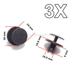 3x Hood And Trunk Insulation Push-type Retainers, Clips For Bmw, Mini