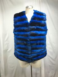 Soft Fluffy Worthwhile Cobalt Blue Real Chinchilla Lady Fur Vest Free Shipping