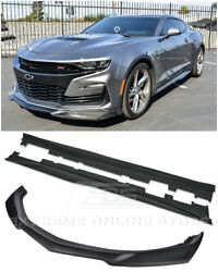 Zl1 Style Abs Plastic Front Lip Splitter And Side Skirts For 19-up Camaro Rs And Ss