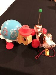 1968 Fisher Price Little Snoopy Wood Pull Toy And 1962 Tiptoe Turtle Pull Toy Lot