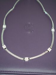 Charriol .45ct. T.w. Diamond Necklace Station In 18kt.white Gold.