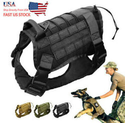 US Tactical K9 Training Dog Harness Military Adjustable Molle Nylon Vest