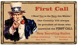 Small Uncle Sam Navy Recruiting Station Sign $24.00