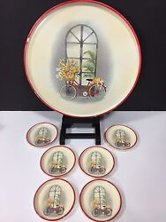 Vintage Set Melamine Melmac Plastic Serving Tray And 6 Coasters Bicycle Red Gold
