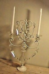 Vintage Large Wrought Iron Glass Candelabra W/prisms Candle Holder Candlestick