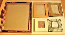 Antique Vintage 5 Picture Frames Lot Inlaid Wood, Dried Flowers, Enamel Gilded