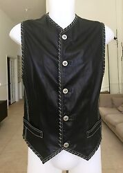 GIANNI VERSACE leather vest with chain stitch detail size IT 50 from fe 199394