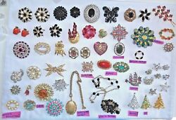 Vtg Costume Jewelry Lot 54 Brooches With Christmas Trees + 2 Necklaces
