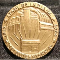 1966 State Of Indiana Sesquicentennial Coin Medal Token Medallic Art Co. Maco In