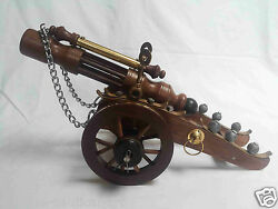 Wood Brass Cannon Vintage Collectible Home Decorative 19 Inch
