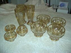 MIXED LOT VINTAGE JEANETTE  DEPRESSION GLASS FOOTED SODA SHOP TUMBLERS 10pcs