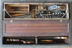 Incredible Antique 19th Century Cabinetmaker Carpenter And Woodworking Tool Chest