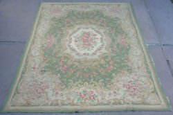 Very Rare Antique 9 X 12 Room Size Hooked American Crewel Chinese Rug / Carpet