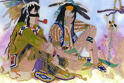Taos, Nm Artist Ed Morgan Watching The Grass Dance Embossment On Paper