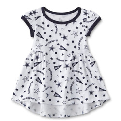 Dallas Cowboys Nfl Baby Girl White Blue Logo Dress, Size 6 Months - New With Tag