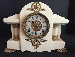 Antique Wm. Gilbert Mantel Clock White With Gold Accents