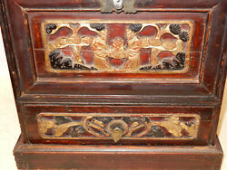 Antique Mid 1800s Chinese Carved Gilt Wooden Smaller Closed Front Chest
