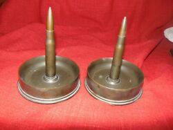 Pair 1944 90ml Cb And C Shell And Bullet Wwii Trench Art Paperweight Ashtray Display