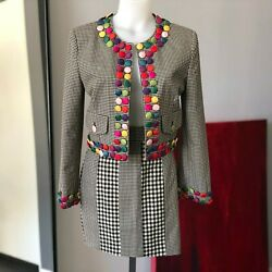 CHEAP amp; CHIC by MOSCHINO multi colored buttons details skirt suit size 8