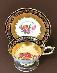 Vtg Paragon Gold Encrusted Filigree Cobalt Blue Rose Tea Cup Saucer Queen And Mary