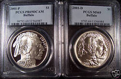 2001-pandd 2 Buffalo Silver Dollars Pcgs Pr69dcam And Ms69