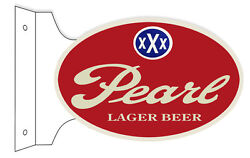 Pearl Lager Beer Bar Pub Double Sided Flange Sign 12x18 Oval Metal Sign