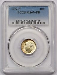 1952-s Pcgs Ms-67+fb Roosevelt Dime Light Golden Toning Booming Luster Pq