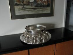 Gorham Silver Plated Punch Bowl W/12 Cups And Large Under Plate